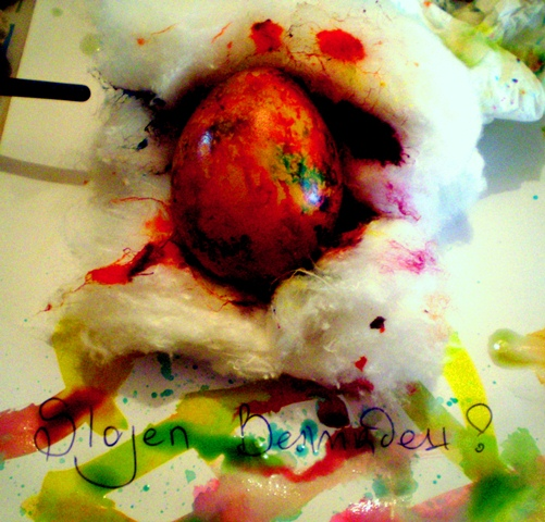 Шарене на яйца в памук